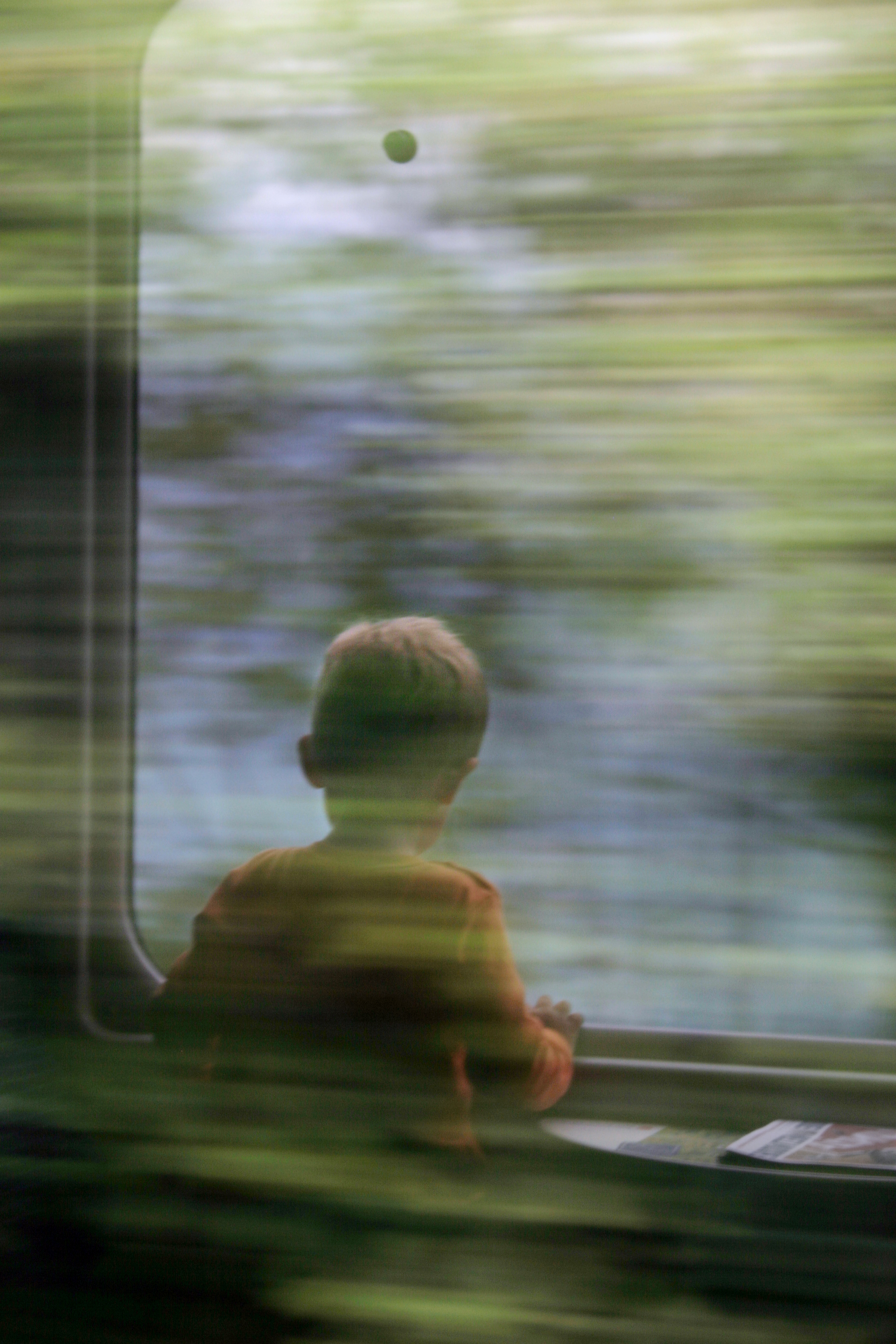 Lucerne: Little boy in a train