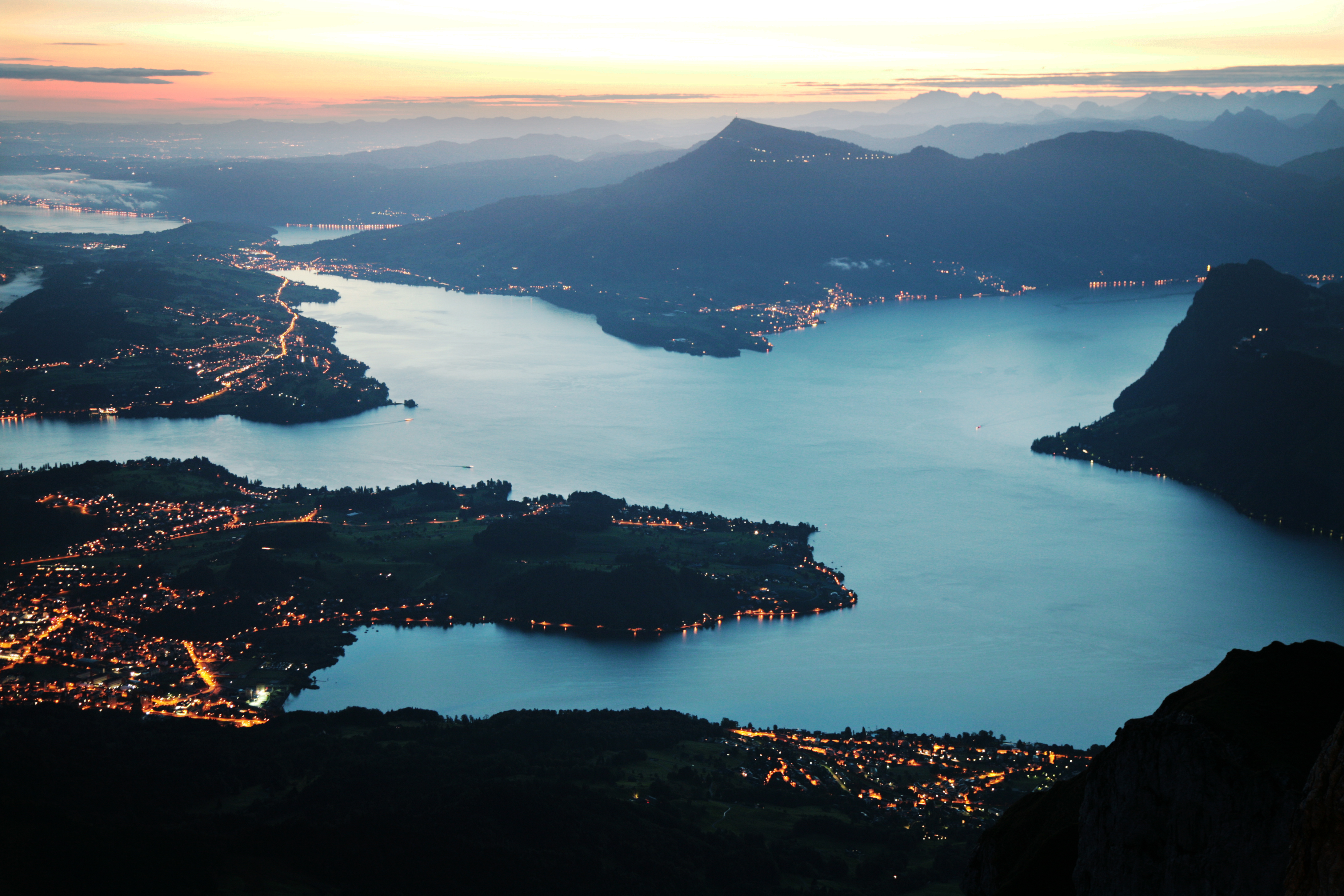 View from the Pilatus on the Lake of Lucerne